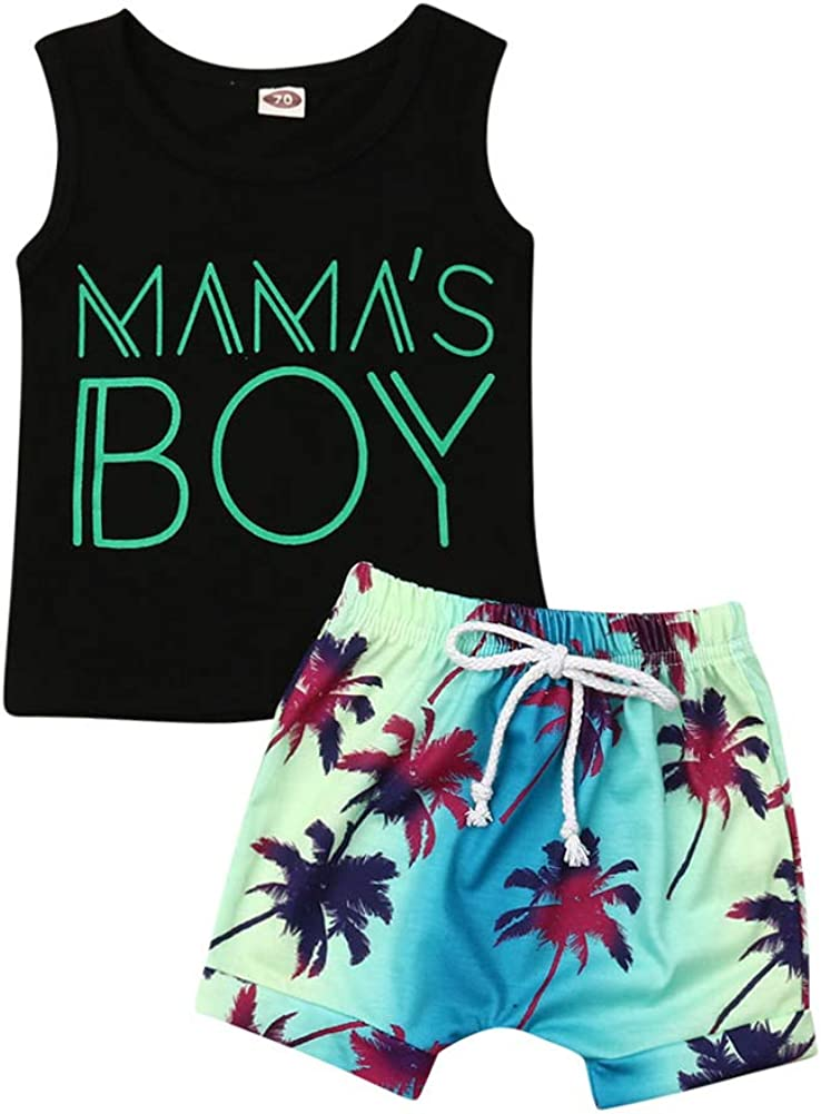 2PCS Baby Boys Summer Clothes Sets Letter Print Sleeveless Tank Tops + Palm Short Pants Outfits Sets