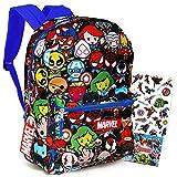 Marvel Kawaii Avengers Backpack - 16' Marvel School Backpack for Boys Girls Kids Teens Adults Bundle with Stickers (Marvel School Supplies)