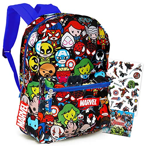 Marvel Kawaii Avengers Backpack - 16' Marvel School Backpack for Boys Girls Kids Teens Adults Bundle with Stickers (Marvel School Supplies)