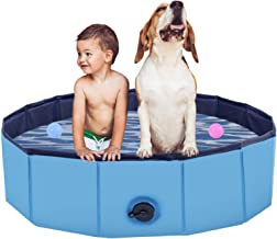 PVC Pet Foldable Swimming Pool Dogs Cats Bathing Tub Portable Bathtub Collapsible Water Pond Pool & Kiddie Pools for Kids ...