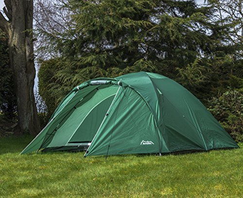 Andes Green 4 Person Man Berth Double Skin Camping/Festival Dome Tent
