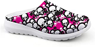 AXGM Men's Slippers Mesh Size Clog Mules Beach Shoes White Skull Pink Graphic Fashion Slippers Adult Casual Shoes Open Bac...