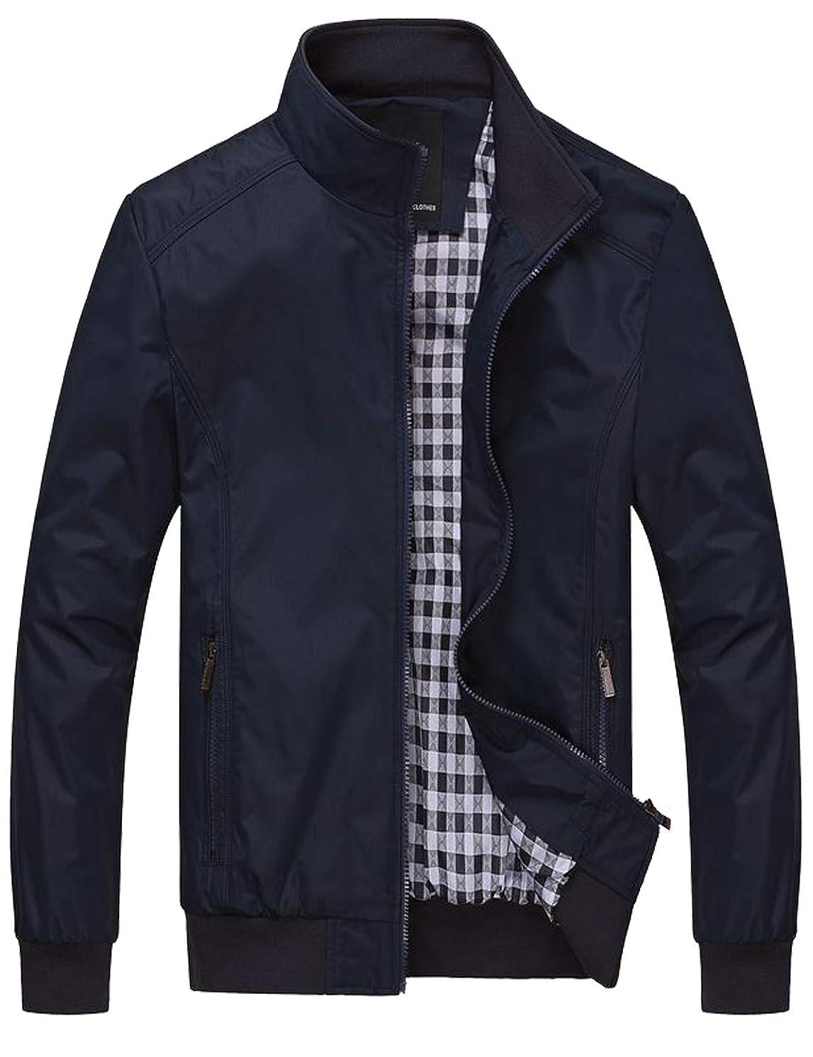 Lentta Men's Casual Slim Lightweight Softshell Zipper Windbreakers Bomber Jacket
