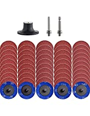 """NYXCL Miroku 2 inch roloc Quick Change Discs Set, A/O Sanding Discs with 1/4"""" Holder, for Die Grinder Surface Prep Strip Grind Polish Finish Burr Rust Paint Removal"""