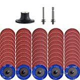 NYXCL 50Pcs roloc quick change discs set, 2 inch A/O Sanding Discs with 1/4' Holder, for Die Grinder Surface Prep Strip Grind Polish Finish Burr Rust Paint Removal,Surface Conditioning Discs