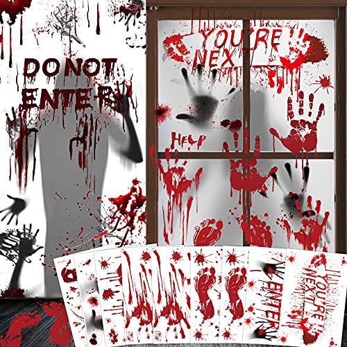 Bloody Handprint Footprint Stickers Door Cover Halloween Decorations – Halloween Party Decorations Bloody Window Decals…