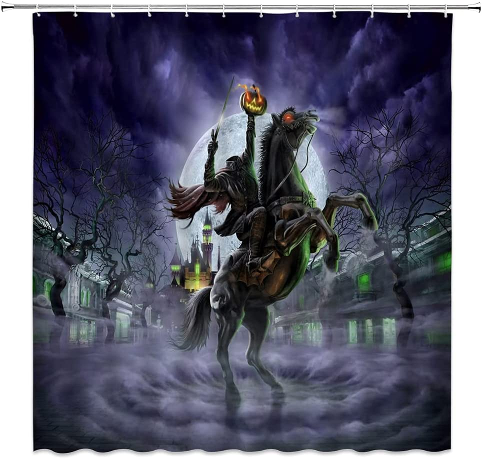WZFashion Halloween Shower Curtain Headless Pumpkin Colorado Springs Mall Crazy Horror New product! New type