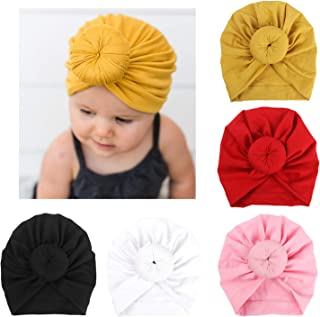 bfd08943c20 Amazon.com  DRESHOW BQUBO 5 Pieces Baby Turban Hats Turban Bun Knot Baby  Infant Beanie Baby Girl Soft Cute Toddler Cap (5 Pack Bow Knit Rhinestone    0-3 ...