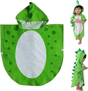 bottlewise Asciugamano Dinosauro Asciugamano per Bambini con Cappuccio da Spiaggia a Forma di Poncho Perfetto per la Doccia dei Bambini Verde
