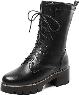 FANIMILA Women Fashion Round Toe Combat Boots Lace Up