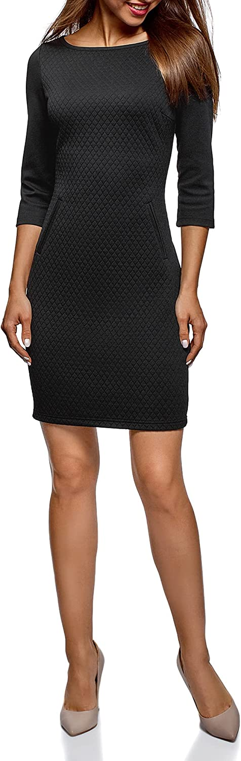 oodji Collection Women's Boat Neck Dress in Textured Jersey