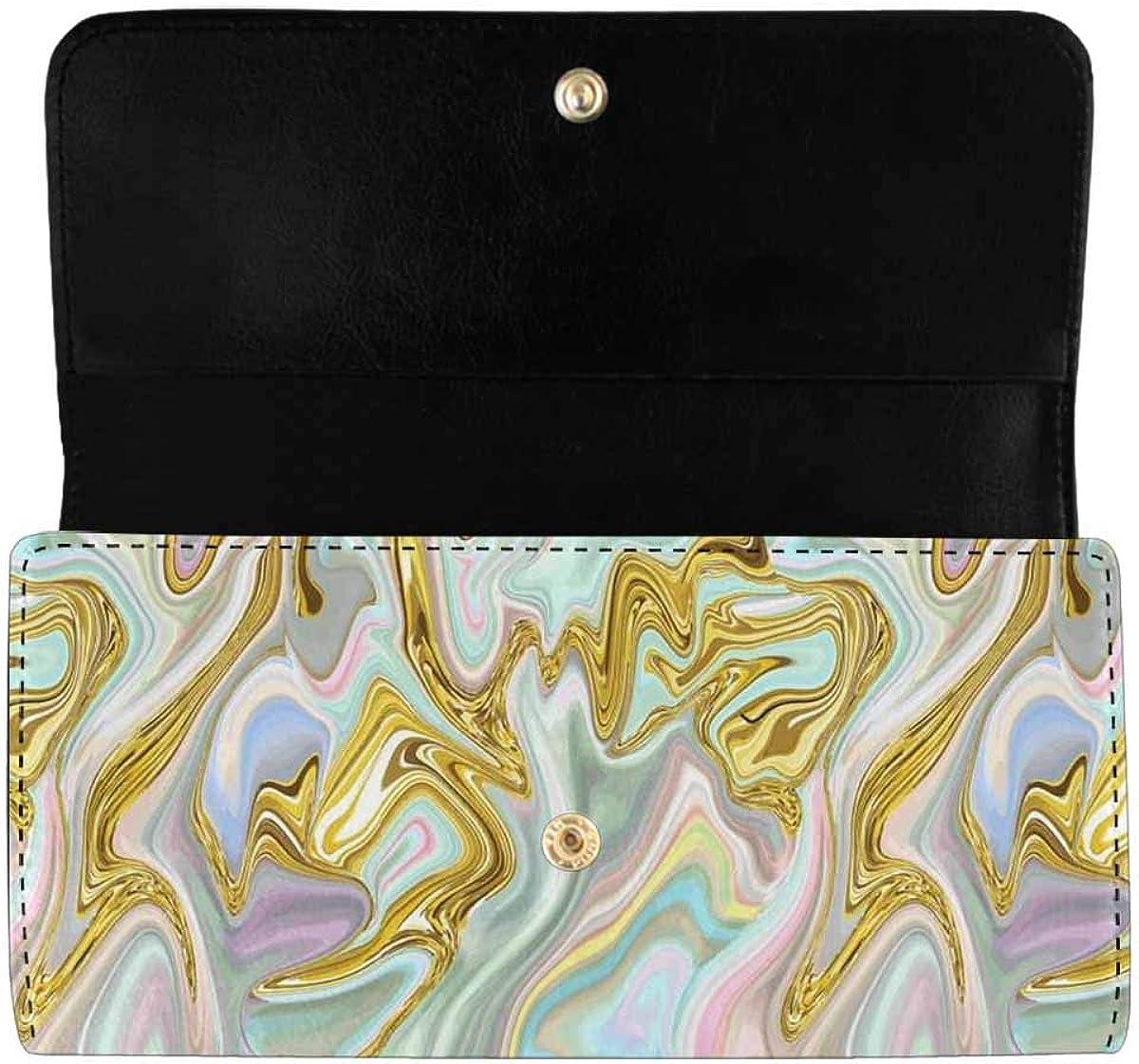 INTERESTPRINT Women's Long Clutch Wallets Gold Butterfly Ornamental Trifold Card Holder Purses