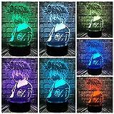 Apuesto héroe Academia de cómics Base agrietada Luz de noche creativa Decoración creativa Lámpara de mesa pequeña Luz de noche multicolor Luz LED Acrílico Luz visual 3D