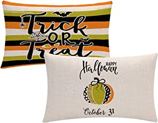 ULOVE LOVE YOURSELF 2Pack Pumpkin Trick or Treat Decorative Throw Pillow Cover Happy Halloween Holiday Decor Rectangular/W...