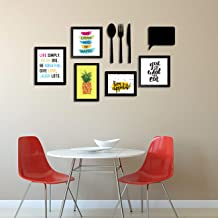 Art Street Art Print Wall Photo Frame for Dining Table, Kitchen or Eating Area with MDF Cutlery and Chalk Board