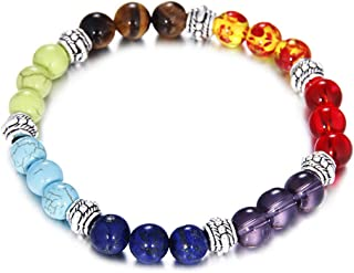 HSLOVE 8MM Lava Rock 7 Chakras Diffuser Bracelet for Women Men Energy Healing Balancing Natural Gemstone Crystals Beads St...