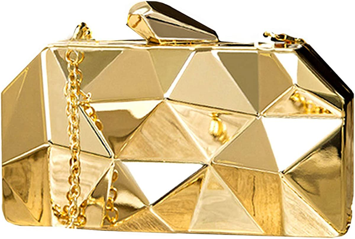 Reberomantic Women Lattice Pattern Metal Handbag Chain Geometric Evening Clutch Purse