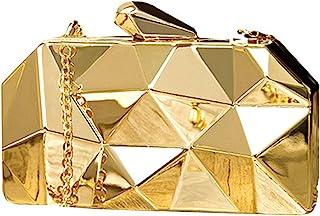 AiSi Damen Geometrische Metall Clutch Abendtasche mit Kette