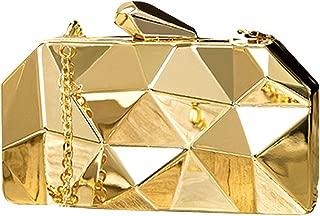 Goodbag Boutique Women Lattice Pattern Metal Handbag Girl Diamond Clutch Purse Chain Mini Shoulder Bag
