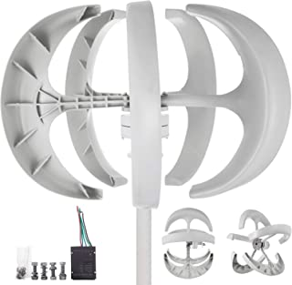 Happybuy Wind Turbine 400W DC 12V Wind Turbine Generator Kit 5 Blades Vertical Wind Power Turbine Generato White Lantern Style with Charge Controller for Power Supplementation