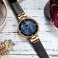 Creative Simple Quartz Watch Women's Dress Steel Mesh Watches New Clock Ladies Bracelet Watch relogios Feminino (Blue-Leather) #4