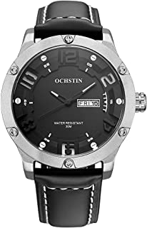 OCHSTIN 2017 Fashion Luxury Genuine Leather Quartz Men Watch Big Dial 30M Water-Proof Calendar Casual Man Wristwatch + Box
