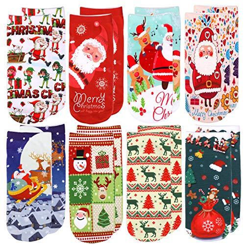 HOWAF 8 Pares Bonitos Calcetines Navidad para Niños Niñas Mujeres Hombres, Tobillo...
