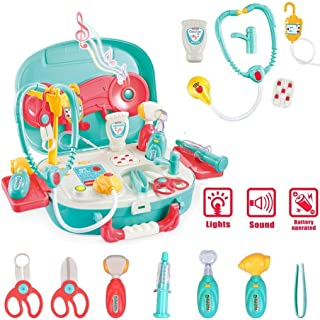 wodtoizi Kids Dentist Kits Playset Doctor Set Toys w Sounds and Lights Pretend Play Dentist Medical Set in Storage Box Boys Girls Toddler Birthday School Classroom Party Role Play Toy