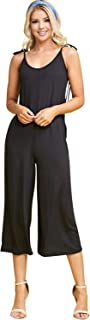 Doublju Women`s Sleeveless Round Neck Shoulder Wide Leg Jumpsuits with Plus Size