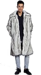 Men's Long Sleeve Fluffy Faux Fur Coat,Mens Winter Warm Faux Fur Overcoat,Long Thicken Soft Jacket Outerwear