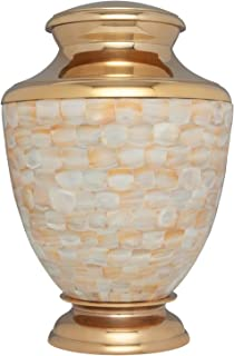Mother of Pearl Hand Made Brass Funeral Urn - Cremation Urn for Human Ashes - Suitable for Cemetery Burial or Niche - White and Gold - Large Size fits Remains of Adults up to 200 lbs