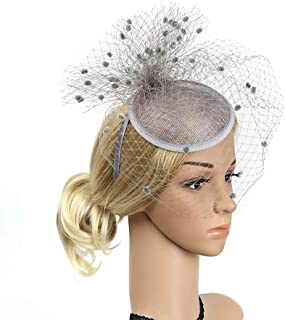 Women Fascinators Feather Flower Banquet Hat Hairband,Headwear Party Hair Accessory Headdress Hairband for Derby Kentucky Wedding,Gray