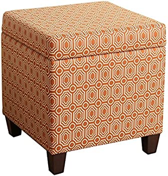 HomePop Upholstered Storage Cube Ottoman with Hinged Lid