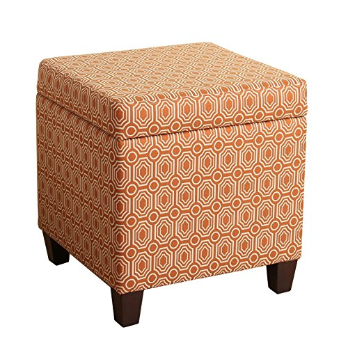 HomePop Upholstered Storage Cube Ottoman with Hinged Lid Orange Geometric