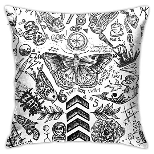 Antvinoler One Direction Tattoos Pillows Case Soft Throw Pillow Double-Sided Digital Printing Couch Pillowcase Square 45cm45cm