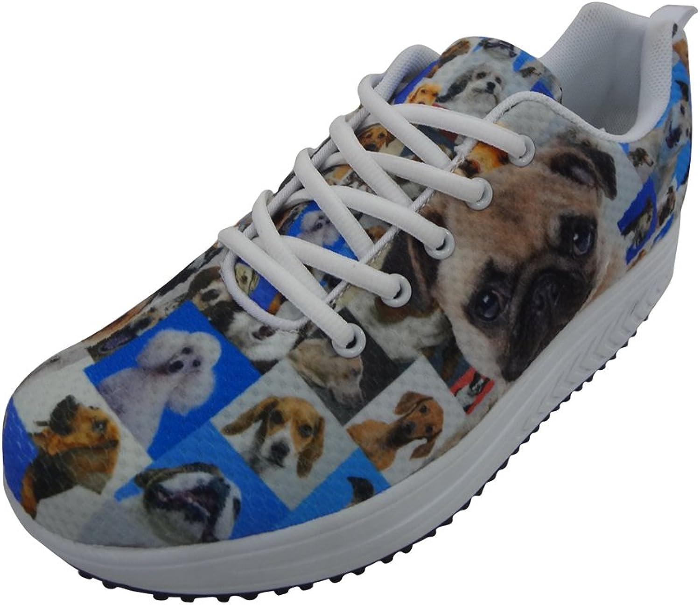 Showudesigns Print Pug Dog Shape Ups shoes Women Wedges Sneaker Platform shoes