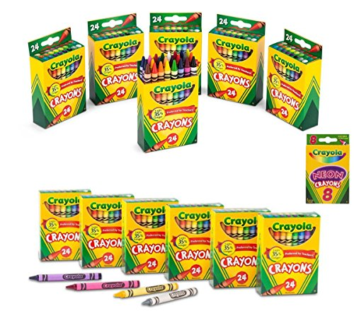 Crayola Crayons 24 in a Box (Pack of 12) 288 Crayons Total Bundle with Box of Neon Crayons