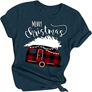 Snowlike T-Shirts for Ladies,Women's Christmas Letter Printed Round Neck Short Sleeve T-Shirts Casual Tops Blouses