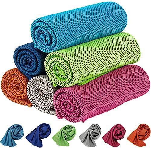 KEAFOLS 6 Pack Toalla de enfriamiento 100 x 30cm Toalla de Hielo fría instantánea Suave de Secado Rápido Toalla Deportiva Gimnasio Yoga Correr Golf (Sólido, 100x30cm)