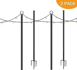 Brillihood Outside String Light Pole, 9ft Sturdy 4 Prong Fork Pole Stand, LED Solar Hanging Bulbs Used for Patio, Backyard, Courtyard Garden, Chrismas, Café Wedding Light Décor, (2-Pack)