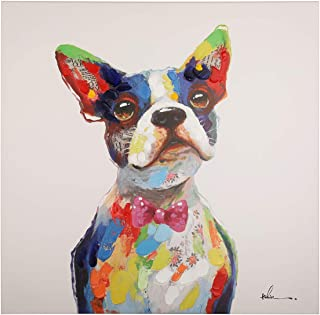 Floopy's Wall décor - Dog Portrait Painting Printing On Canvas Bowtie Dog Colorful and Fun Hand Embellished Pet Modern Art for Living Room Bedroom Office Children Wall Decoration 28