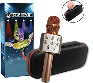 2019 Upgraded Bluetooth Wireless Karaoke Microphone,Portable Karaoke Mic for Home Traveling Party,Kids Karaoke Machine KTV Microphone Music Player,Nice Gift for Xmas/Birthday/Mother day(Rose Gold)