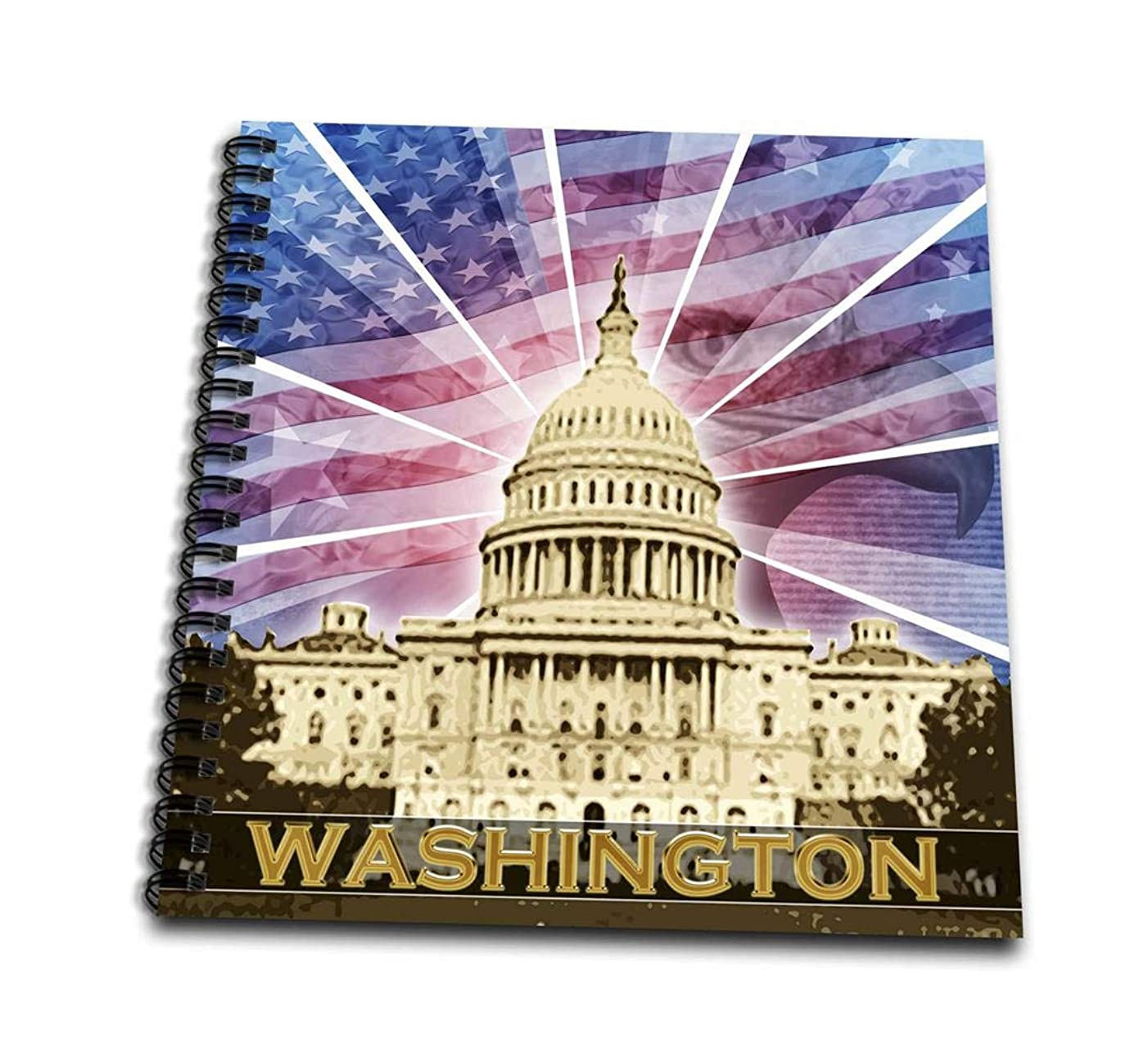 3dRose db_19413_1 Washington Dc Patriotic American Flag with Bald Eagle and Capitol Building-Drawing Book, 8 by 8-Inch