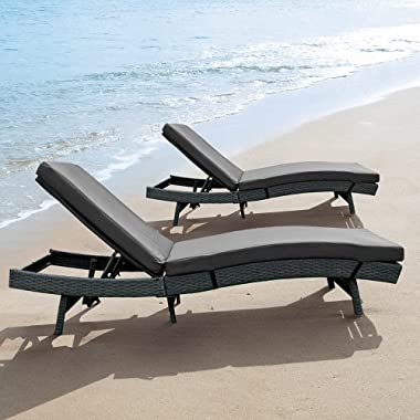 LEAPTIME 2Pcs Outdoor Chaise Lounger Cushion with Fabric Cover and Foam Inside ( Grey )