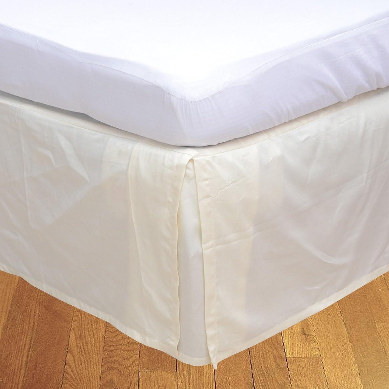 LaxLinens 250 fils cm2, 100%  coton, finition élégante 1 jupe plissée de chute lit Longueur    26  Euro-Super King-Ivoire Crème-beurre solide
