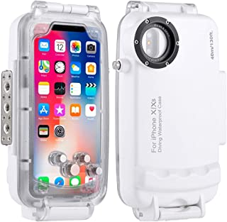 HAWEEL for iPhone X/XS Underwater Housing Professional [40m/130ft] Diving Case for Diving Surfing Swimming Snorkeling Photo Video with Lanyard (iPhone X/XS, White)