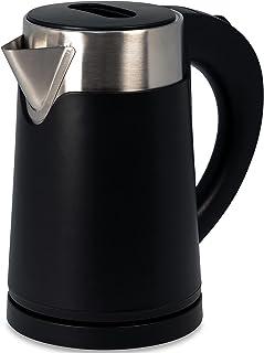 ステンレス 電気ケトル スピード沸騰80秒 ブラック 800ml [おしゃれなカフェケトル] 空焚き防止 ステンレスケトル 湯沸かしポット 0.8L 電気ケトル ドリップ ポット 細口 コーヒー i001
