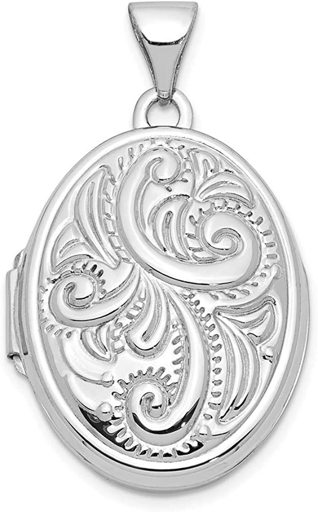 14k White Gold Scroll Design Domed Oval Locket Pendant Charm Fine Jewelry For Women Gifts For Her