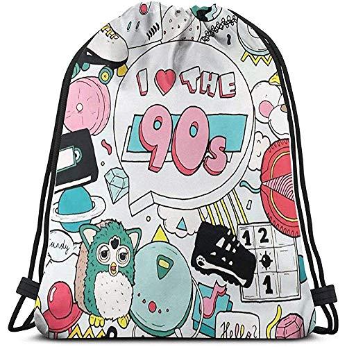 Liebe die 90er Jahre Drawstring Rucksack Durable Big Capacity Leichte lässige Sporttasche Cinch Bags Portable Storage Bag