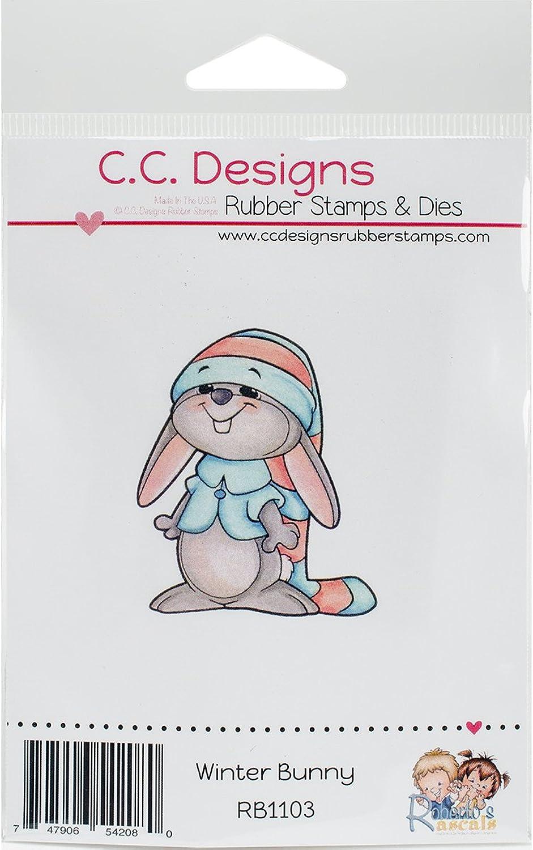 C.C. Designs Designs Designs Roberto 's Rascals selbst Stempel 2 Zoll x 1.72-inch Winter Bunny, Acryl, mehrfarbig B018HB4J50 | Mittel Preis  692358